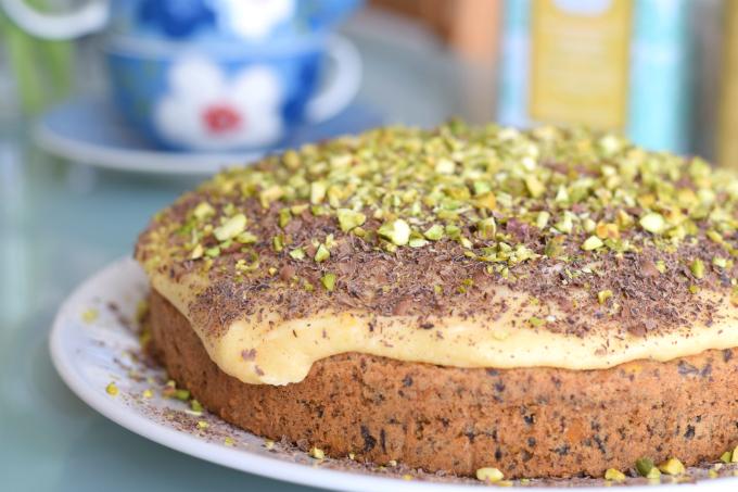 Chocoladetaart met pistache en abrikoos 2