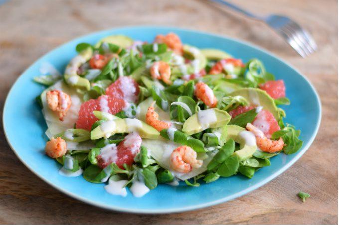 salade met rivierkreeftjes - Anniepannie.nl
