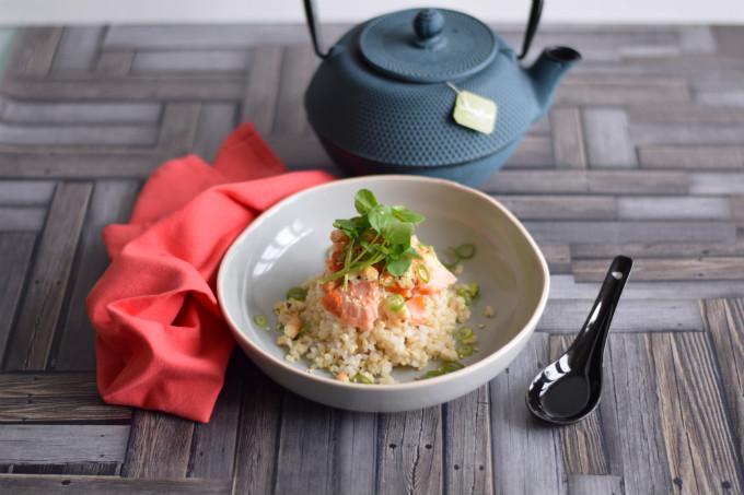 Japanse rijstsoep met warmgerookte zalm - Anniepannie.nl