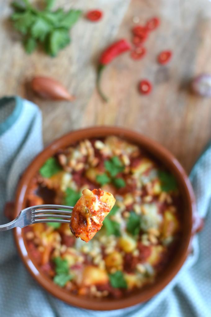 Aardappelschotel met gorgonzola - closeup - Anniepannie.nl