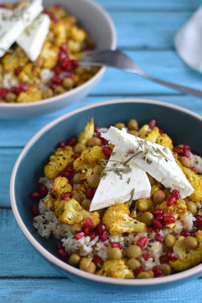 Geroosterde bloemkool met rijst en feta - Anniepannie.nl