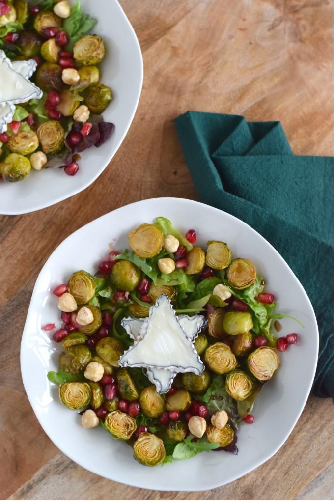 Geroosterde spruitjes salade met geitenkaas en granaatappel - Anniepannie.nl