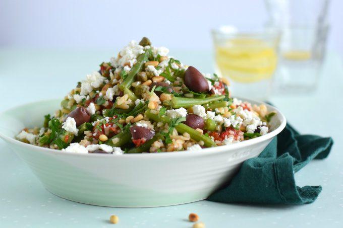 Orzo salade met sperziebonen feta en olijven - Anniepannie.nl