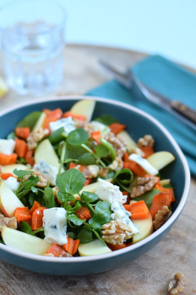 Salade met appel gorgonzola en wortel - Anniepannie