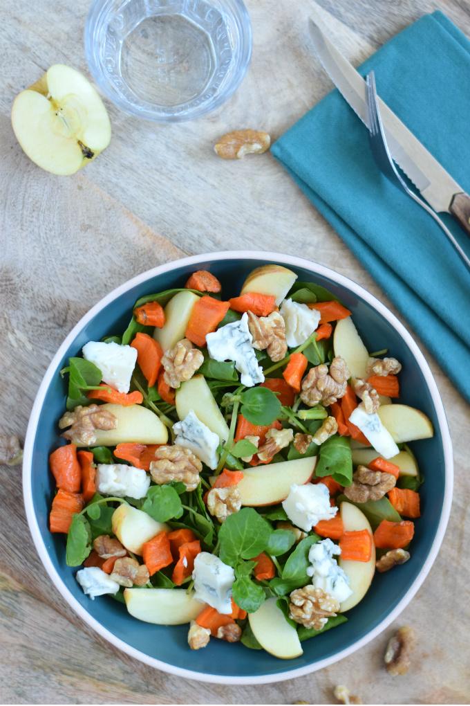 Salade met appel waterkers gorgonzola en wortel