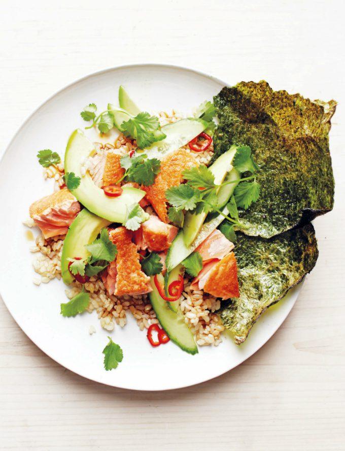 Bruine rijst met zalm uit Frisse start - Anniepannie