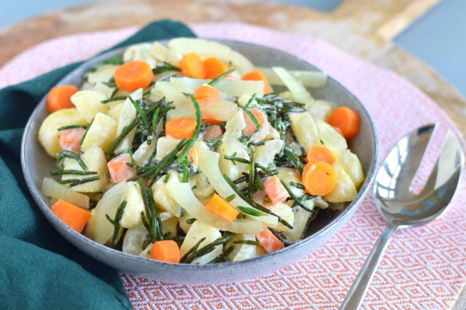 Aardappelsalade met zeekraal venkel en wortel - Anniepannie