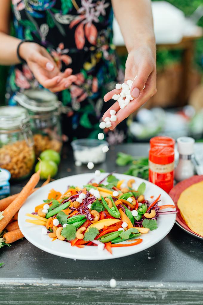 Regenboog salade Bettine geitenkaas - Anniepannie