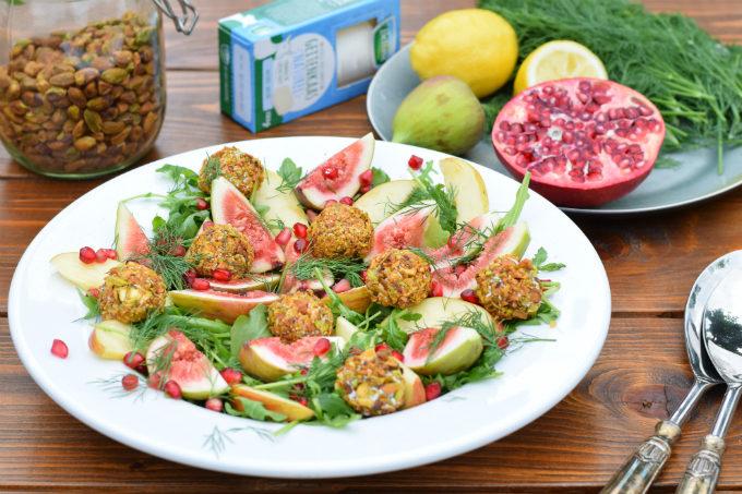 Salade met vijgen geitenkaas appel en pistache - Anniepannie