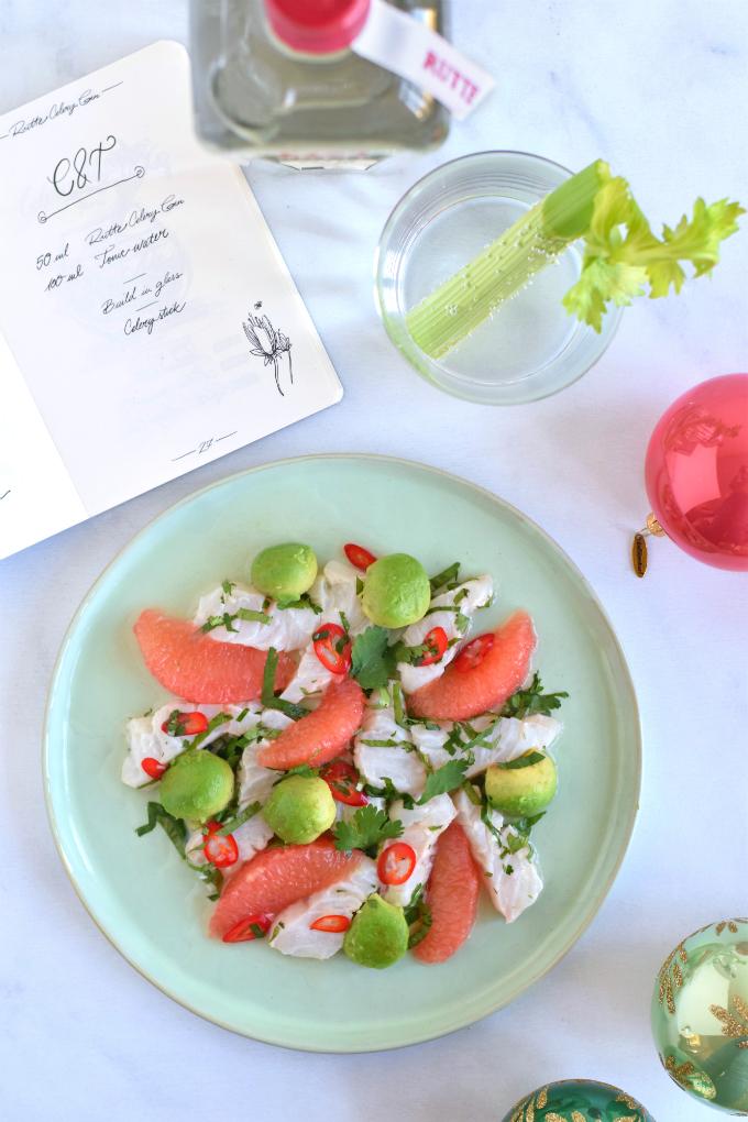 Ceviche van zeebaars met gin grapefruit en avocado - Anniepannie
