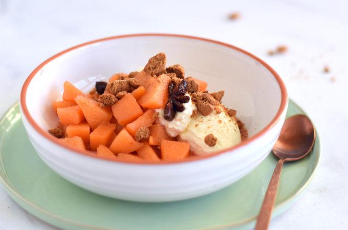 Dessert met kweeperen en speculaaskruim - Anniepannie