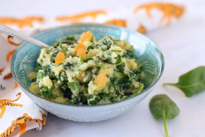 Aardappelpuree met spinazie munt en blanke rozijnen - Anniepannie