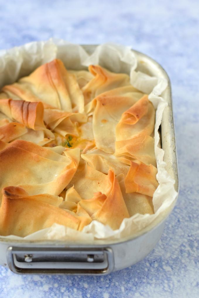 Hartige filodeeg taart met spinazie en chorizo - Anniepannie