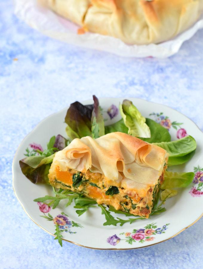 Hartige taart met pompoen, spinazie en chorizo - anniepannie