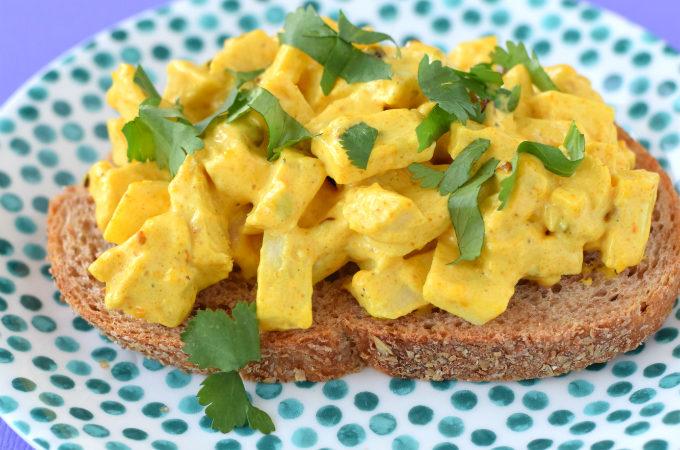 jackfruit kerrie salade voor op brood - Anniepannie
