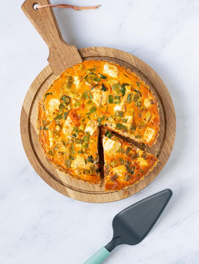 Quiche met feta harissa en spinazie - Anniepannie
