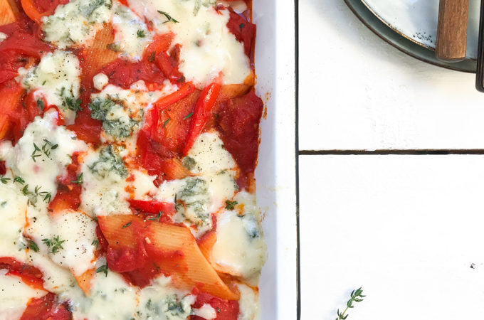 Pasta met geroosterde paprika en gorgonzola