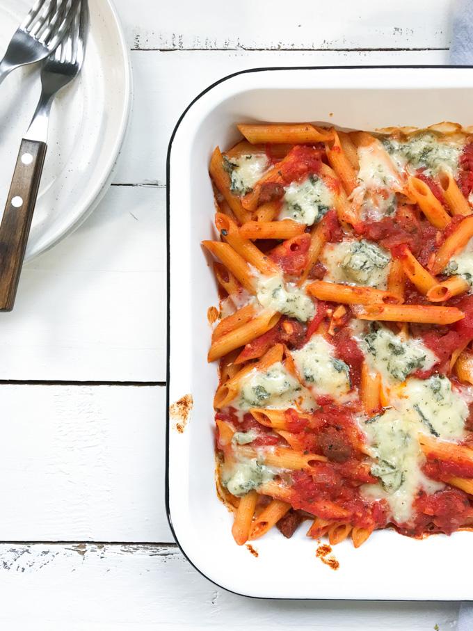 pasta met worst en gorgonzola - ANNIEPANNIE