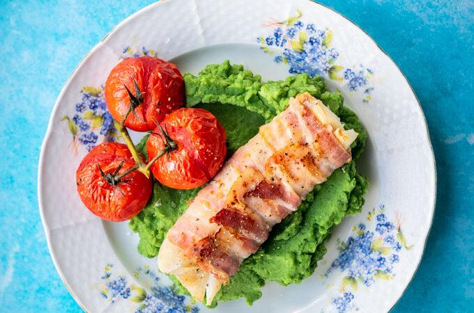 Schelvis in spek met spinaziepuree en oventomaten - ANNIEPANNIE