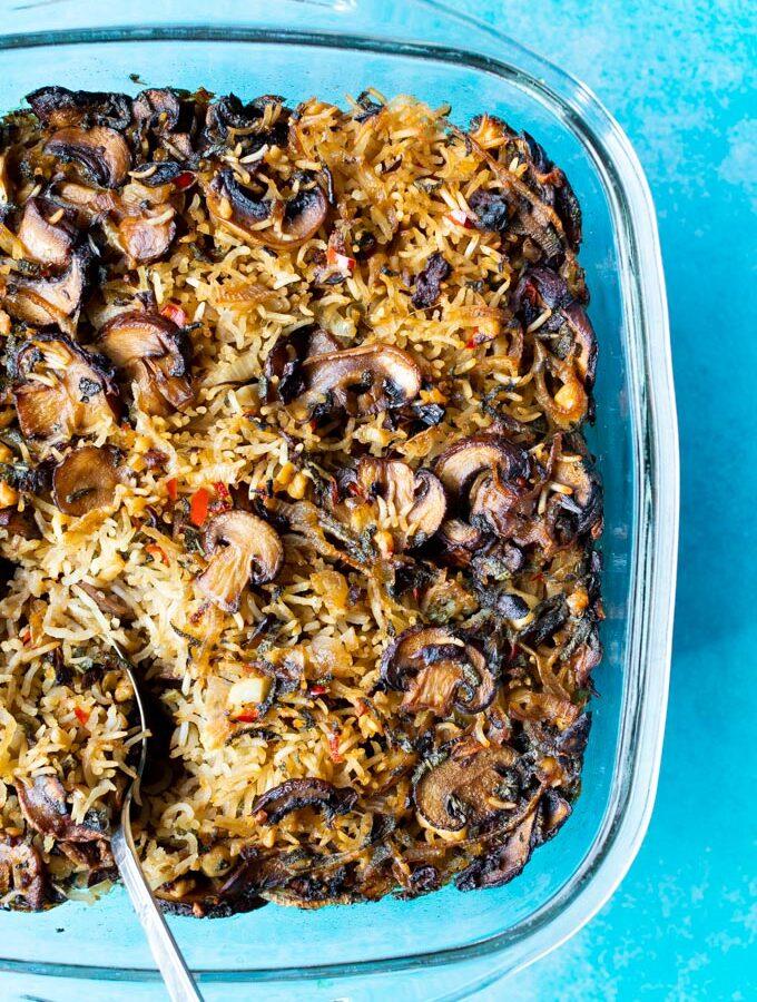 Rijstschotel met champignons en feta
