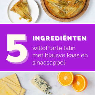Tarte tatin van witlof met blauwe kaas en sinaasappel - ANNIEPANNIE