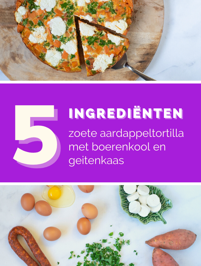 Zoete aardappel tortilla met boerenkool en geitenkaas-ANNIEPANNIE