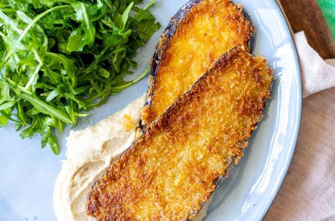 Aubergine schnitzel met boterbonenpuree - ANNIEPANNIE