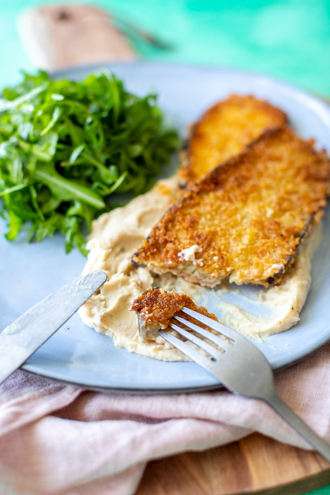 Vegetarische aubergine schnitzel met bonenpuree - ANNIEPANNIE